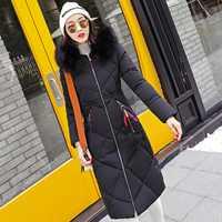 Chaqueta de invierno mujer 2018 moda mujeres abrigo grueso Casaco Feminino Inverno largo invierno escudo mujeres delgadas Parka chaqueta caliente mujeres