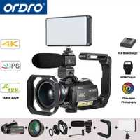 Ordro AC5 UHD 4 K Video cámaras digitales cámaras FHD 24MP WiFi IPS pantalla táctil 100X Digital Zoom 12X óptico mini DV videocámaras
