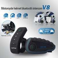 V8 motocicleta Bluetooth Intercom BT altavoz casco auricular moto Interphone inalámbrico 1200 m 5 jinetes