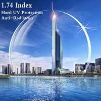 1.74 indice Ultra mince CR-39 Prescription asphérique myopie presbytie lunettes optique lentille UV protéger Anti-rayonnement 2 pièces RS202
