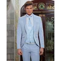 Luz Azul clásico de los hombres traje de fiesta de boda de playa elegante esmoquin de 3 piezas Terno Masculino (chaqueta + pantalones + chaleco) g502