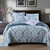 Colcha de algodón tejida de calidad Floral Patchwork colchas patrón de flores funda de cama tamaño Queen King con fundas de almohada gran venta