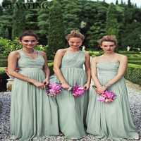 2019 barato largo de raso Salvia vestidos de dama de Honor verde menta Boho país boda vestido de fiesta para mujeres Novias Vestidos de dama de Honor