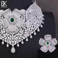 GODKI lujo Cubic Zirconia nupcial joyería conjuntos para mujeres boda indio collar pendientes conjuntos de plata joyería nupcial
