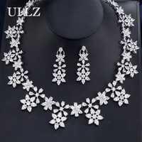 UILZ de alta calidad Zirconia cúbico boda collar y forma de la flor pendientes de cristal de lujo de juegos de joyería para damas de honor