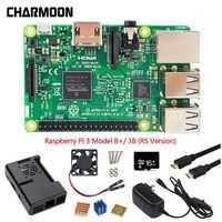 7 unids Combo Kit Raspberry Pi 3 Modelo B +/3B placa base, 16 GB tarjeta MicroSD y 5 V 2.5A adaptador, disipadores de calor, negro caso y Cable HDMI