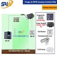 Cerradura de perno eléctrica para sistemas de Control de acceso de puerta de vidrio sin marco