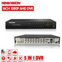 16 canal AHD DVR 1080 p DVR 16CH TVI CVI apoyo 1920*1080 2.0MP cámara CCTV Video Recorder DVR NVR HVR sistema de alarma de seguridad