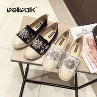 Wellwalk alpargatas mujeres zapatos Slip-on mocasines de las mujeres pisos de Ballet zapatos de mujer mocasines cristales arco zapatos de mujer