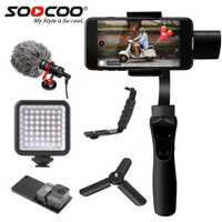 SOOCOO cardán plataforma estable de 3 ejes estabilizado de cardán portátil de extensión de vídeo del teléfono móvil estabilizador cara de apoyo de fotografía