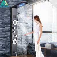 Negro cascada lluvia Panel de ducha grifo luz LED ducha en el cuarto de baño de temperatura del sistema de pantalla Digital cuerpo chorro de masaje de grifo mezclador
