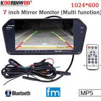 Koorinwoo de alta resolución de 1024x600 7 TFT LCD Monitor retrovisor coche espejo pantalla TF ranura USB Bluetooth MP5 monitor de coche para coche