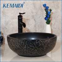 KEMAIDI baño lavabo de cerámica de baño Baño de latón conjunto grifo mezclador grifo orbe negro grifo de cascada cuenca grifos