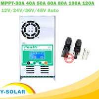MPPT 120A 80A 60A 40A contrôleur de Charge solaire rétro-éclairage LCD régulateur solaire 12 V 24 V 36 V 48 V Auto pour MC4 sans acide et Lithium