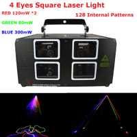 Nave rápida 4 lente luces láser 620 MW 3 colores RGB DMX Proyector láser con 128 tipos de patrones para interiores decoración de Navidad