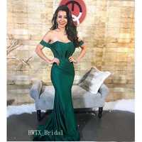 Vestido de noche sin hombros Sexy sirena cuello barco plisado elástico satén hasta el suelo árabe 2019 largo fiesta Formal vestido de