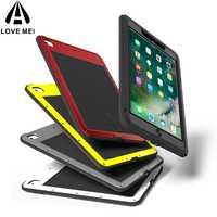 LOVE MEI aluminio Metal para el nuevo iPad 9,7 2018/2017 funda potente a prueba de golpes fuerte para el nuevo iPad 9,7 funda Gorilla vidrio endurecido
