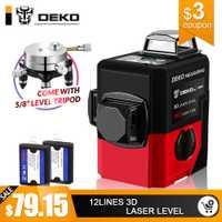 DEKO LL12-HVR 12 líneas 3D nivel láser autonivelante 360 grados Horizontal y Vertical Cruz potente al aire libre se puede utilizar detector