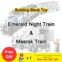Expert ultime Train de Maersk et nuit émeraude sertie de chiffres blocs de construction jouets pour enfants cadeau Fit Legoness Technic Train