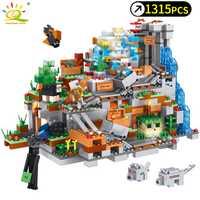 1315 piezas unids mi mecanismo mundial bloques de construcción de cueva compatibles Legoed Minecrafted Aminal Alex figuras de acción juguetes de ladrillo para niños