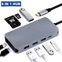 9-en-1 de tipo C a HDMI/Gigabit LAN/HUB USB/SD/TF puerto estación de acoplamiento multifunción adaptador de Hub HDMI 4 K para MacBook Pro Asus