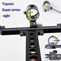 Super compuesto arco y flecha vista aguja larga Polo vista con 4x lente competitivo apuntando con bolsa de tiro con arco
