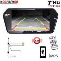 Koorinwoo de alta resolución de 1024x600 pantalla LCD de TFT de 7 pulgadas aparcamiento inversa Monitor coche espejo Digital TF ranura USB Bluetooth MP5 para coche