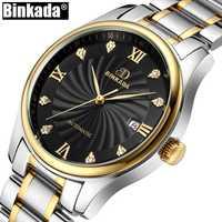 BINKADA superior de la marca de los hombres Reloj mecánico automático de fecha de lujo Casual Reloj de Hombre de cristal marcador Reloj Hombre Reloj Masculino