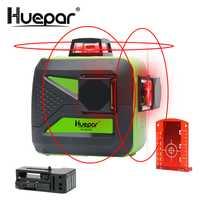 Huepar 12 líneas 3D Cruz nivel láser autonivelante 360 Horizontal y Vertical súper poderoso rayo láser rojo línea