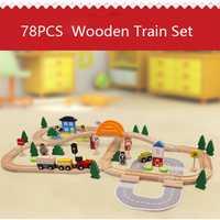 78 piezas tráfico de madera tren magnético modelo de coche ranura rompecabezas de madera ferrocarril temprano juguete educativo para los niños y amigos