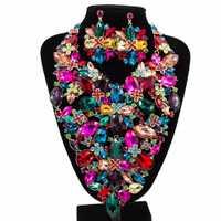 Alta calidad oro color nigeriano Cuentas boda joyería nupcial Conjunto para las mujeres claro cristal flores collar pendiente conjunto