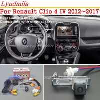 Cámara de respaldo para coche Lyudmila con Cable adaptador de 24 pines para Renault Clio 4 IV 2012 2017 cámara de visión trasera Compatible con pantalla Original