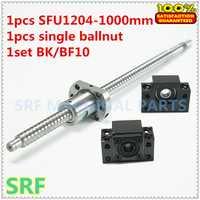 RM1204 laminado en husillo de bolas L = 1000mm C7 bola tornillo SFU1204 solo ballnut + BK/BF10 final apoyo para CNC