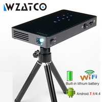 WZATCO CT50S Mini portátil inteligente casa teatro bolsillo Android 7.1.2 OS Wifi Mini HD LED proyector para La HD1080P. HDMI 4 K