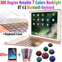 360 grados Rotable 7 colores Backlit Bluetooth teclado Smart PC funda para Apple iPad 9,7 2018 2017 iPad Air 1 2 5 6 Pro 9,7