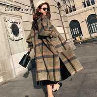 CamKemsey 2019 las nuevas mujeres de invierno cálido abrigo de Cachemira señoras Oficina de Trabajo Vintage elegante Plaid lana mezclas abrigos