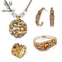Viennois café Color oro cristales de colores colgantes collar pendiente anillo pulsera conjuntos de joyas para mujeres de fiesta de lujo joyería