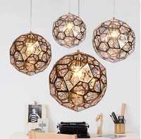 Moderno oro plata cobre Etch Web colgante luces Tom Dixon de acero inoxidable diamante polígono colgante lámpara para la habitación