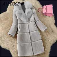 AILOOGE 2018 abrigo de pieles mujeres invierno manga larga chaquetas moda cálida Faux Mink Fur Coat mujer Fox Cuello de piel parka