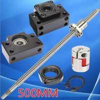 SFU1605 conjunto L500mm rodó el tornillo de la bola con el extremo mecanizado + 1605 tuerca de bola + tuerca + para BK/ BF12 soporte final + acoplador