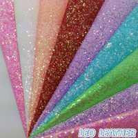 Imitación de cuero Glitter Chunky glittle cuero para coser DIY tela de cuero P809