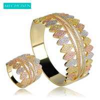 MECHOSEN de Nigeria conjunto de joyas para las mujeres tres tonos plateado Zirconia cúbico gran brazaletes anillo de boda Pulseira idiota