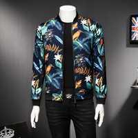 Chaqueta de hombre con estampado Floral chaqueta de hombre Vintage clásica de moda de diseñador bombardero chaquetas de fiesta de hombres de gran tamaño