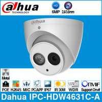 Dahua IPC-HDW4631C-A 6MP HD POE red Mini domo IP Cámara carcasa metálica micrófono incorporado CCTV 30M Onvif IR actualización de IPC-HDW4433C-A