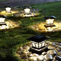 De vidrio Solar Post de camino de jardín energía Solar lámpara de paisaje al aire libre tierra sol luz dos método de instalación
