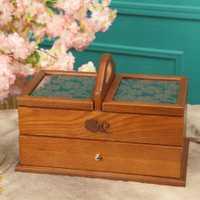 Caja de almacenamiento de madera contenedor de joyería Vintage Cofre del Tesoro caja de madera Manual caja de almacenamiento de escritorio kit de costura Venta caliente