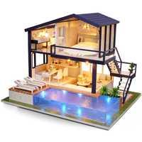 Casa de muñecas CUTEBEE miniatura DIY casa de muñecas con muebles casa de madera juguetes para niños Regalo de Cumpleaños A066