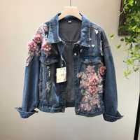 2018 primavera otoño Jeans chaqueta abrigo mujer nuevo pesado estéreo Rosa flor bordado agujero Denim Chaquetas estudiante básico abrigos
