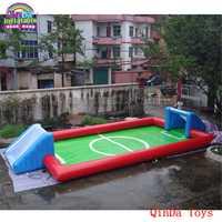 Juegos divertidos juguetes de playa inflables campo de fútbol libre soplador de aire inflable jabón paso para adultos y niños
