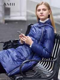 Amii 2018 chaquetas de invierno de las mujeres sólido caliente asimétrico cremallera Collar grueso línea nueva largo abrigo